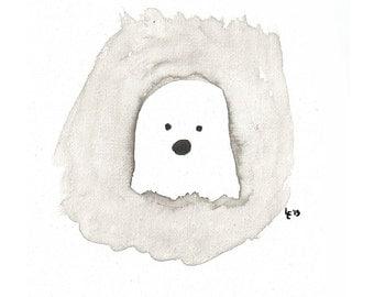 Ghost Watercolor Digital Download Halloween Print 4x6