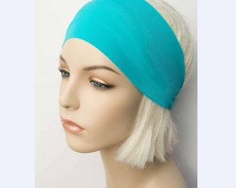 Yoga Headband, Workout Headband, Fitness Headband, Running Headband, Non Slip Headband, Gym Dance Headband, Turquoise Solid Color Headband