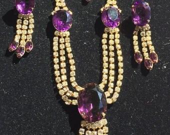 Hobe Rhinestone Necklace set, Hobe purple gold demi, Hobe Necklace earrings brooch