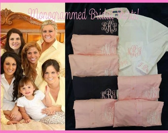 BRIDESMAIDS Oversized Monogrammed Button Down Shirts,monogrammed Oversized bridesmaids oxfords,Bridesmaids Buttondowns,Bridesmaids gifts-BG