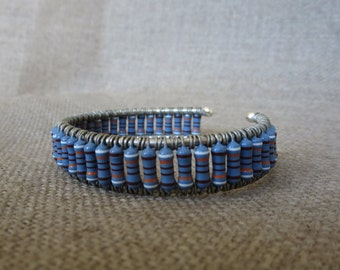 Blue and White Resistor Cuff Bracelet