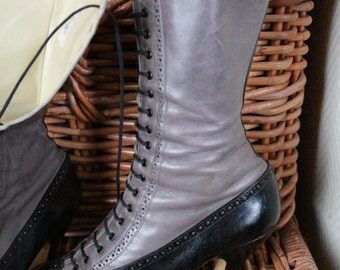 Victorian grey & black leather boots - US 9 / UK 6.5 / EU 40