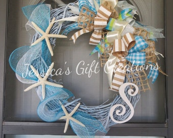 Made to Order Beach Grapevine Wreath/Front Door Wreath/Starfish Wreath/Monogram Wreath/Nautical Door Hanger/Welcome/Summer/Everyday Wreath