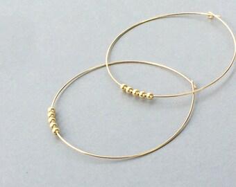 Large Gold Hoops 14 K Gold Filled Hoop Earrings Extra Large Gold Hoop Earrings Thin Gold Hoops Bohemian Jewelry Handmade Beaded Hoops