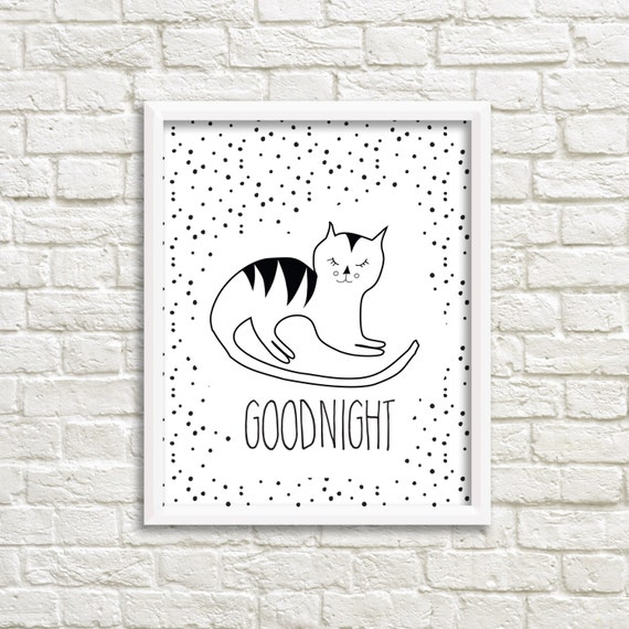 de531dc8a cat nursery print illustration gallery wall sleepy kitty printable decor w