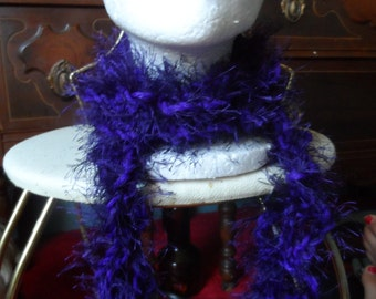 Dark Purple Fuzzy Crochet Boa Scarf