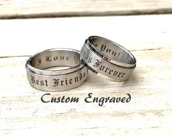 Personalized Spinner Stainless Steel Wedding band couples