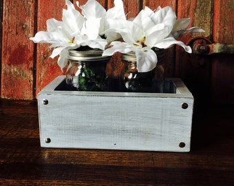 Mason Jar Planter / White Wash Planter Box