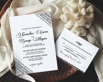 Printable Wedding Invitation Template - BOHO - Instant Download - Edit Yourself in Word