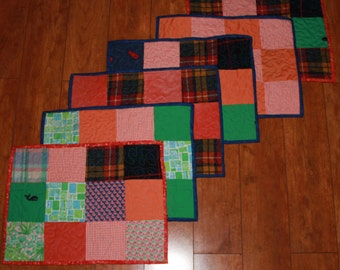 Placemats, Memory placemats, Placemats made from loved one's clothing, Memory quilts, Remembrance quilts, t shirt quilts, repurposed clothes