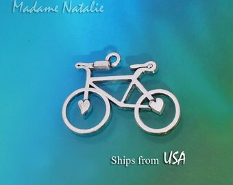 Bicycle Pendant (3), Tibetan Silver Bike Pendants Charms, Sport Theme Charms,  Transportation Theme Charms, Small Silver Bike
