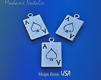 Ace of Spades Charms (6), Antique Silver 2 Sided Playing Card Charms, Ace Pendants, Silver Ace Charms, Poker Charms, Gambling Charms