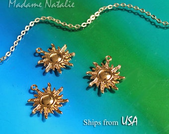 Bright Gold Sun Charms (4), Golden Tone Sun Pendant, Radiating Sun Charms, Summer Sun Pendants, Sunshine Charms, Celestial Jewelry Findings