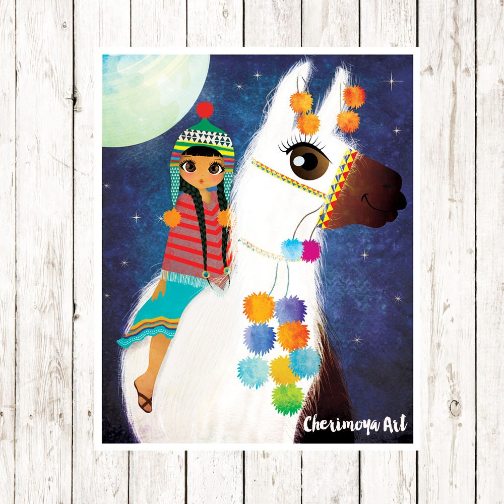 Llama print children 39 s room decor wall art print by for Room decor gifts