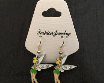 Silver Plated Disney Princess Peter Pan Tinkerbell Fairy Earrings