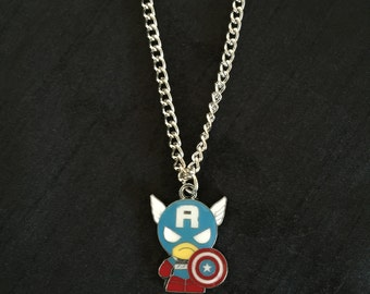 Silver Plated Marvel Super Heroes Captain America Necklace