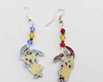 Anime/Gaming Pokemon Minum Plusle swarovski crystal earrings kawaii cosplay jewelry