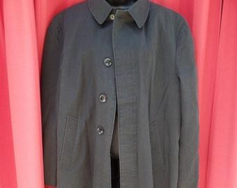 vintage Cranbrook solid black trench coat overcoat men's large 42