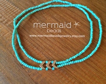 Summer Outdoors Gift Turquoise Anklet Beaded Anklet Ankle Bracelet Boho Bracelet Beach Jewelry Gifts Under 20 Beaded Stretch Anklet Chevron