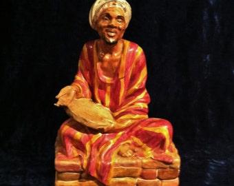 Vintage Chalkware Arab Man With Riq (Tambourine) Statue