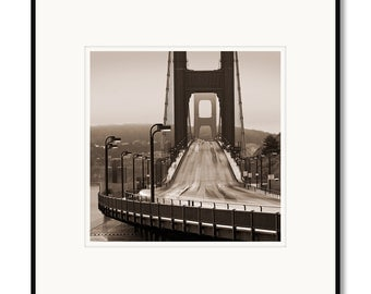 Golden Gate Bridge, Black and white photography, sepia prints, Sausalito, Presidio, San Francisco California, framed photography