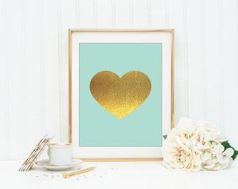 Mint and Gold Heart Instant Download  Mint Wall Art Office Decor Dorm Wall Art Apartment Decor Teen Wall Art