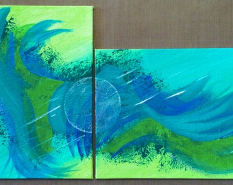 """Small Turquoise Diptych Abstract Paintings contemporary original fine art, apartment decor, colorful abstract art """"Spring Spirits"""" 6x8"""" each"""
