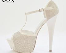 NAOMI - custom design wedding shoe, pearl beaded, bride and groom, hand painted shoe, open toe, engagement high heels