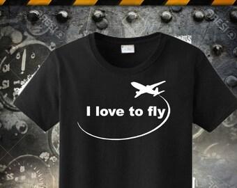 Pilot Shirt, Airplane T-Shirt, Plane Shirt, Flying shirt, I Love to Fly Cotton T-Shirt, Aviation T-shirts, Birthday Gift, Dad Grandpa Tee 36