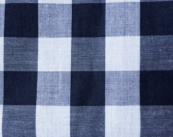 Vintage , Retro , French , Gingham , Black and White , Cotton , Fabric