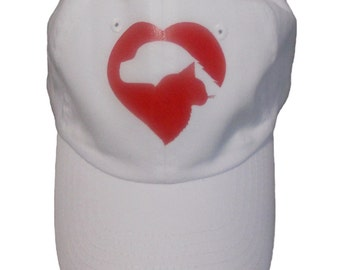 Love My Pets Red Heart White Hat Cap