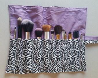 Zebra Roll-Up Makeup Brush Holder