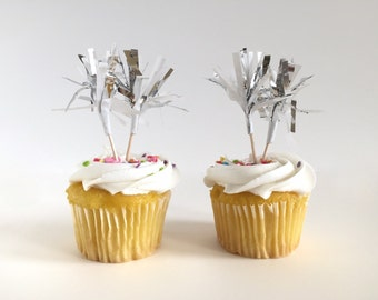 White & Silver Cupcake Toppers / Cake Toppers / Tissue Tassel / Set of 12 / Handmade / Bridal Shower, Baby Shower, etc.