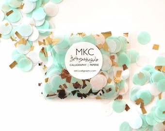 Mint, White, & Gold Tissue Confetti / Round Cut / Handmade / Bridal Shower, Baby Shower, Birthday's, Weddings, etc.
