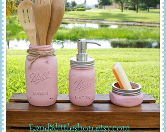 Mason Jar Kitchen Set of 3-Pink-Soap Dispenser-Rustic Kitchen-Housewarming gifts-Wedding Gift-Vintage Decor-Shabby Chic-Country Decor