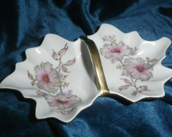 REDUCED Antique gold handled and trimmed Dogwood pattern nut/mint dish by Mitterteich Bavaria/Germany