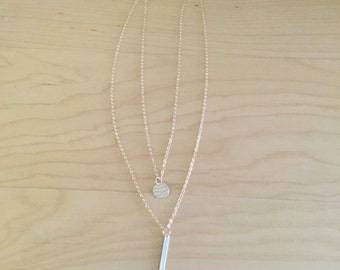 14K Gold filled layered necklace with bar drop charm and hammered circle charm