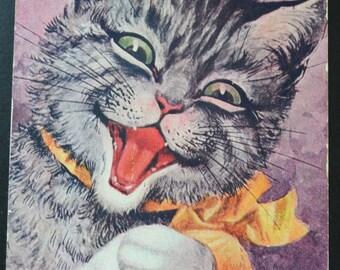 Arthur Thiele Postcard, Thiele Cat,Cat Postcard, Artist Signed Postcard, Humanized Cat Postcard
