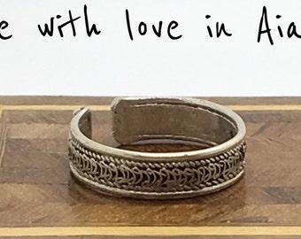 ring (ring) adjustable vintage silver Tibetan man