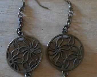 Antique gold flower earrings