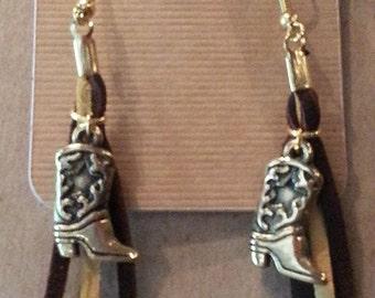 Cowboy Boot Suede string earrings