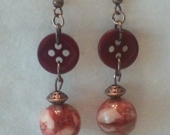 Copper and rust button earrings