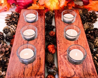 African Bubinga Candle Holders Set of 2, Thanksgiving Decor, Anniversary Gift - Unique Gift - Christmas Gift - Table Centerpiece