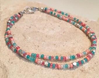 Multicolored seed bead bracelet, double strand bracelet, minimalist bracelet, boho bracelet, silver bracelet, dainty bracelet, gift for her