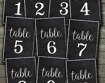 Printable Chalkboard Rustic Style Table Numbers for Weddings and Parties, Printable Chalkboard Table Number Signs 1-10