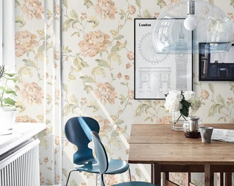Peony Pattern Wallpaper, Peony Wallpaper, Removable Peony Wallpaper, Peony Wallpaper, Peony Wall Sticker, Peony Wall Decal, 006