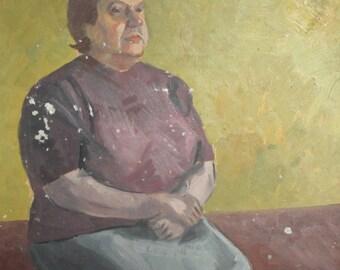 Sitting woman portrait vintage oil painting