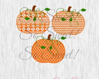 Patterned Pumpkins SVG / DXF Cut Files Aztec Chevron Tribal Halloween Fall Pumpkin Cut File Svg Dxf Vine Stem Silhouette Cute Monogram