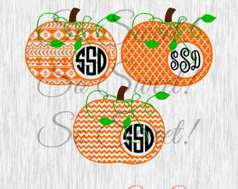 Patterned Pumpkin SVG / DXF Monogram Frames Side Circle Cut File Fall Halloween Monogram Frame Svg Dxf Silhouette Chevron Aztec Vine Curly