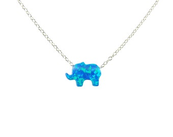 Opal Elephant Necklace 925 Sterling Silver Baby Pendant Lucky Charm Fashion Women's Jewelry